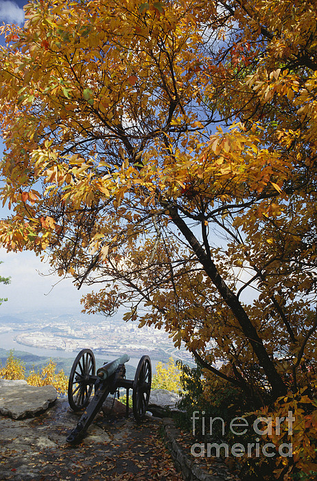 Cannon On Top Of Lookout Mountain Print by Bruce Roberts