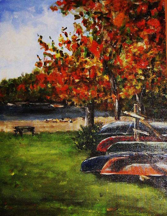 Canoes By The Lake Print by Andrea Flint Lapins