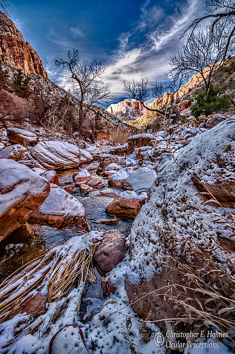 Canyon Stream Winterized Print by Christopher Holmes