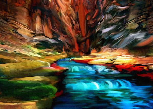 Canyon Waterfall Impressions Print by  Bob and Nadine Johnston