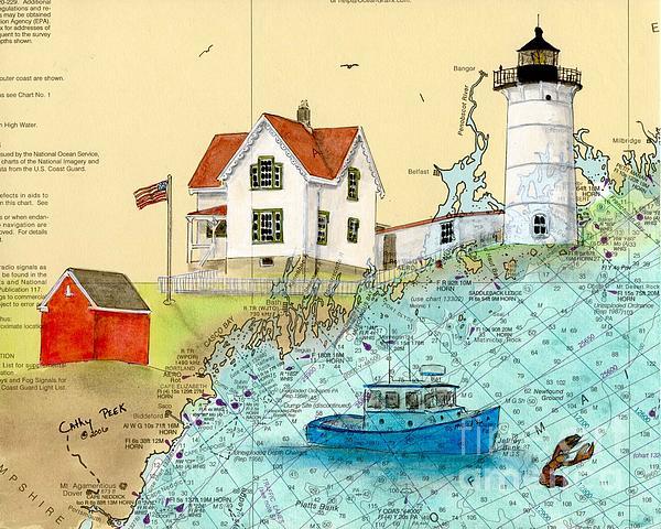 Cape Neddick Lighthouse Me Nautical Chart Map Art Cathy Peek Print by Cathy Peek