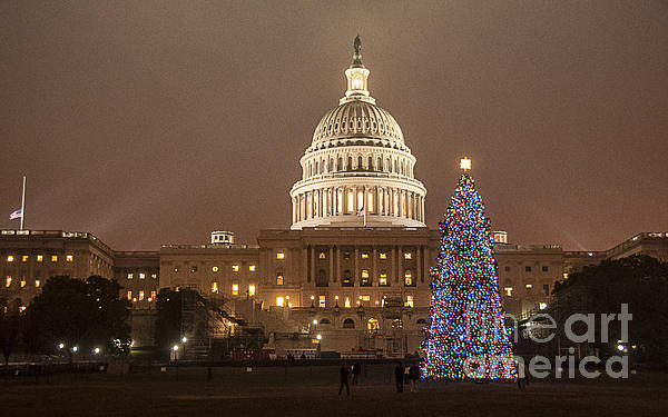 Capitol Christmas Print by Terry Rowe
