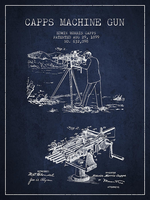 Capps Machine Gun Patent Drawing From 1899 - Navy Blue Print by Aged Pixel