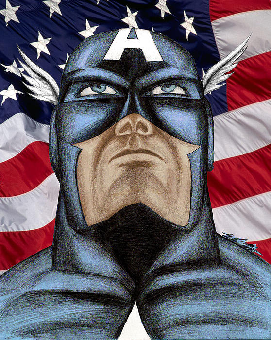 Captain America Print by Michael Mestas