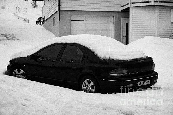 Car Buried In Snow Outside House In Honningsvag Norway Europe Print by Joe Fox