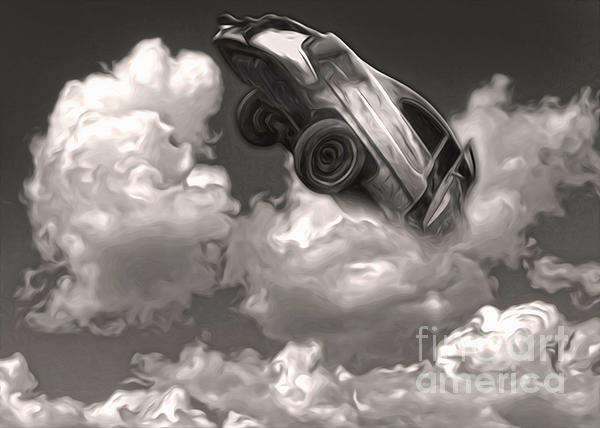 Car Crash In The Clouds Print by Gregory Dyer