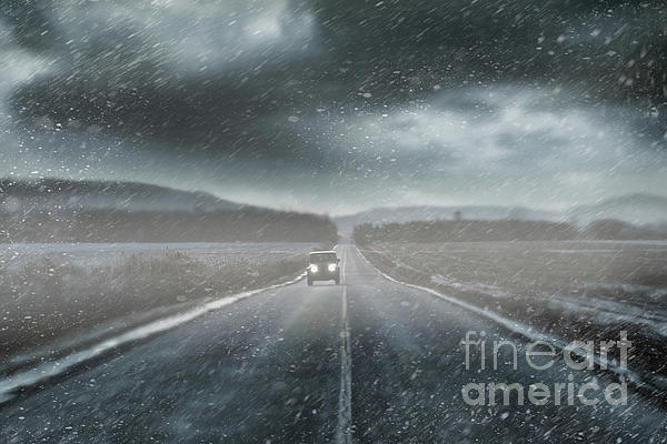 Car On Rural Road In Early Winter Print by Sandra Cunningham