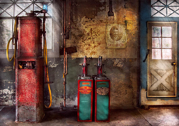 Car - Station - Gas Pumps Print by Mike Savad