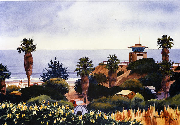 Cardiff State Beach Print by Mary Helmreich