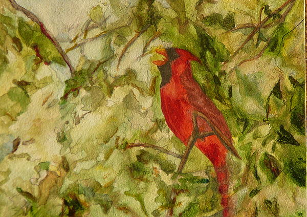 Cardinal Singing Print by Eldora  Larson