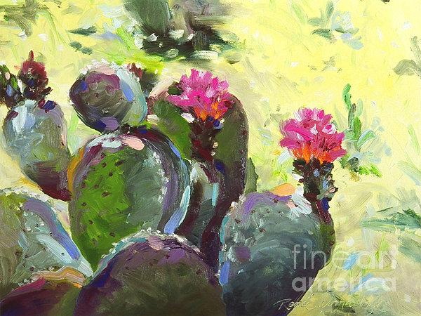 Carefree Cactus Print by Renee Womack