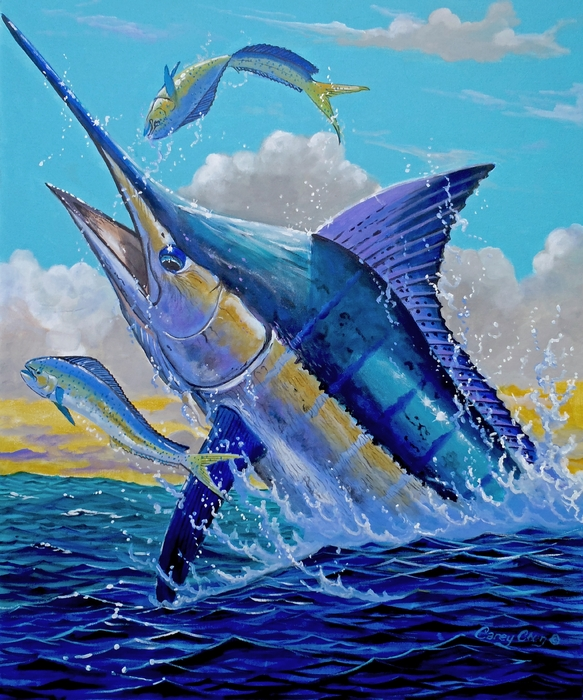 Carib Blue Print by Carey Chen