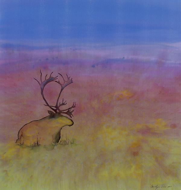 Caribou On The Tundra Print by Carolyn Doe