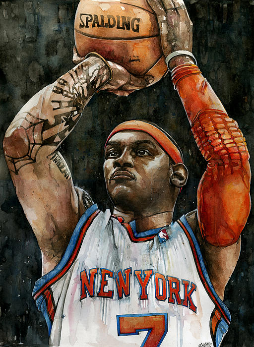 Carmelo Anthony Print by Michael  Pattison
