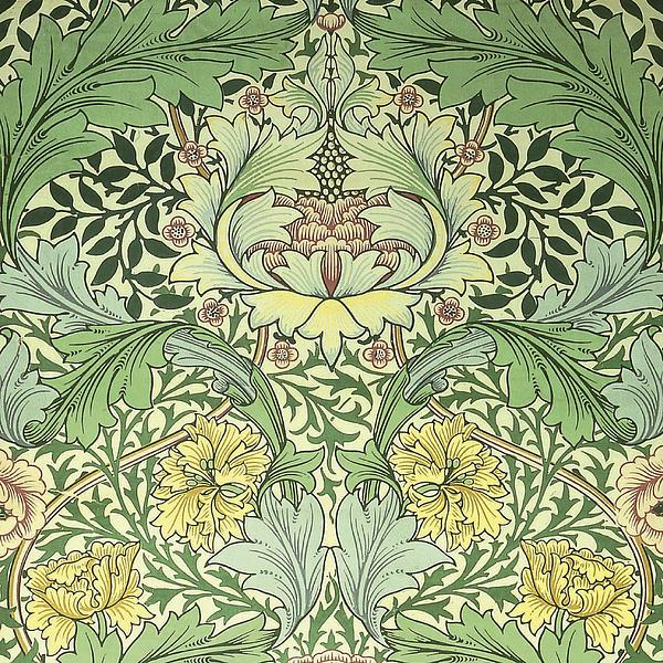 Carnations Design Print by William Morris