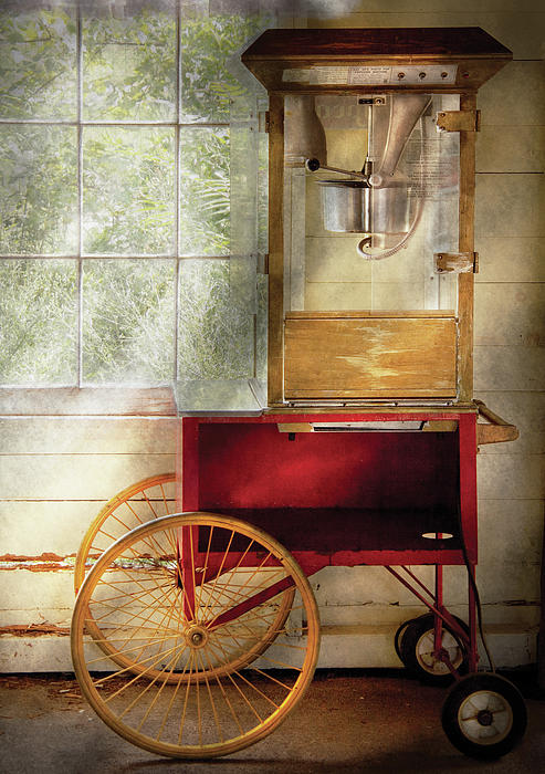 Carnival - The Popcorn Cart Print by Mike Savad