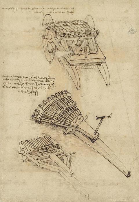 Cart And Weapons From Atlantic Codex Print by Leonardo Da Vinci