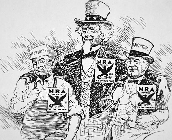 Cartoon Depicting The Impact Of Franklin D Roosevelt  Print by American School