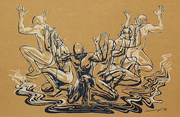 Carved Men Print by Maria Arango