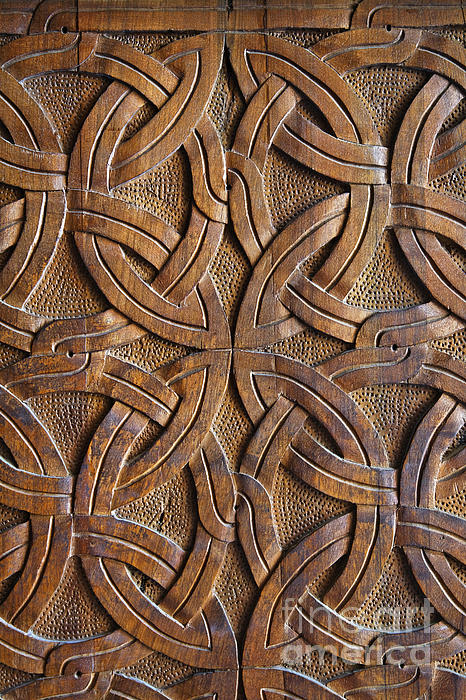 Carved Wooden Door In The Tsminda Sameba Cathedral Tbilisi Print by Robert Preston