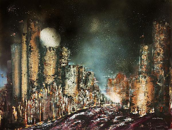 Castle Moonrise Print by Kaye Miller-Dewing