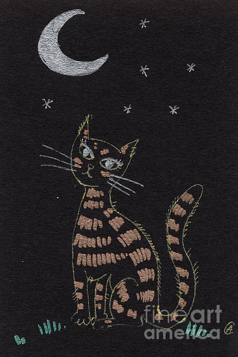 Cat Under The Moonlight Print by Angel  Tarantella