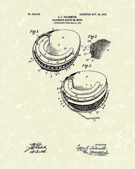 Catcher's Glove 1905 Patent Art Print by Prior Art Design
