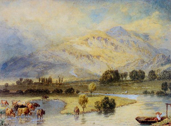 Cattle Watering Print by Myles Birket Foster