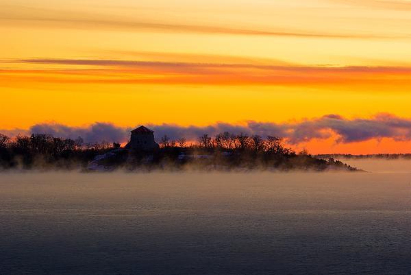 Cedar Island Morning Mist Print by Paul Wash