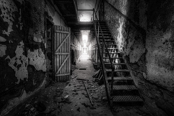 Cell Block - Historic Ruins - Penitentiary - Gary Heller Print by Gary Heller