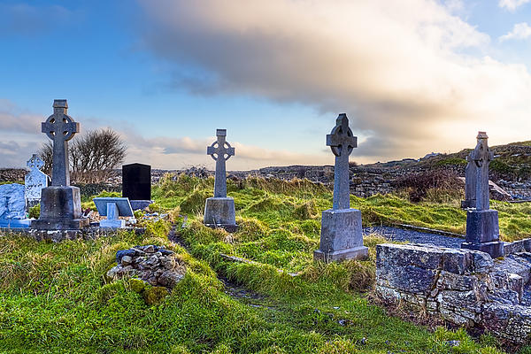 Celtic Crosses In An Old Irish Cemetery Print by Mark Tisdale