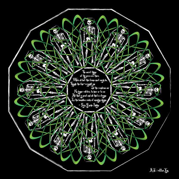 Celtic Flower Of Death Print by Celtic Artist Angela Dawn MacKay