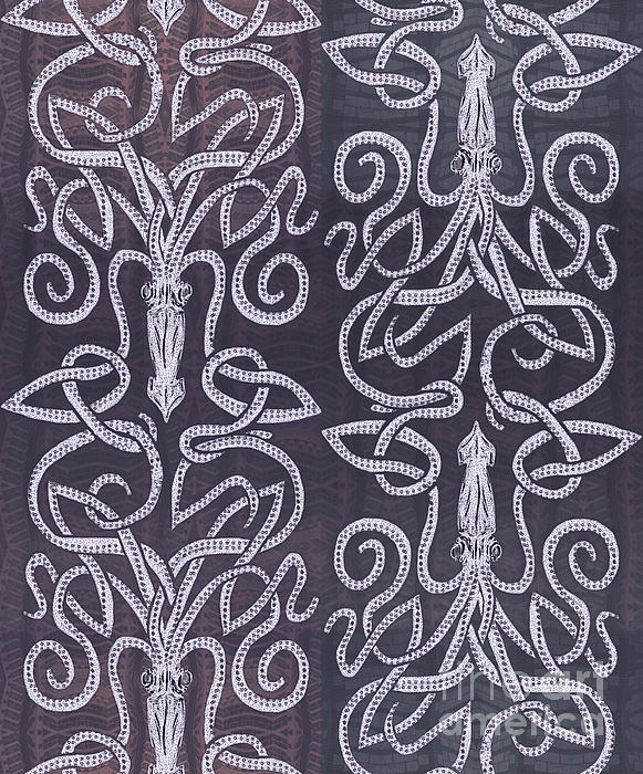 Celtic Plum Kraken Print by CR Leyland