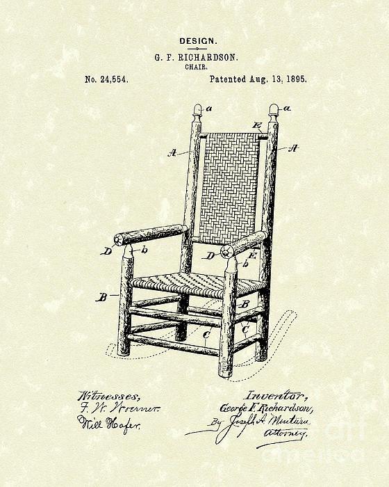 Chair 1895 Patent Art Print by Prior Art Design