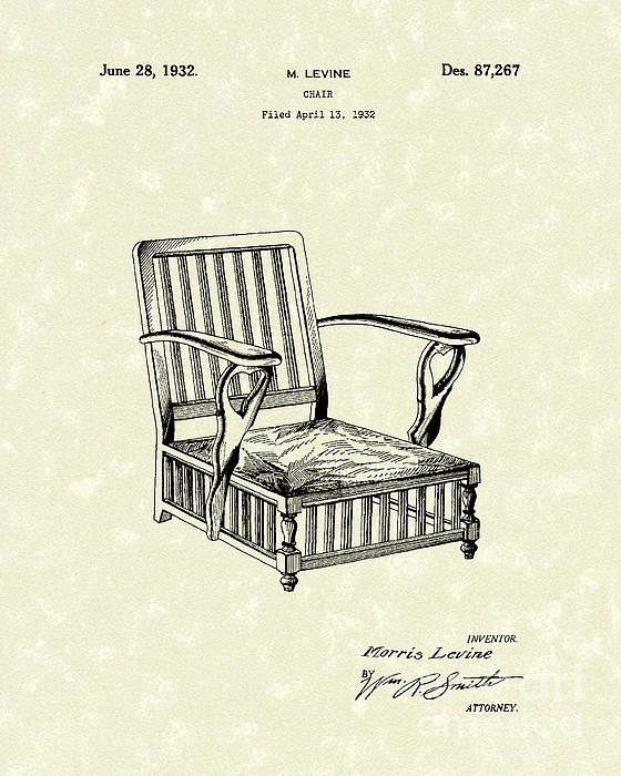 Chair 1932 Patent Art Print by Prior Art Design