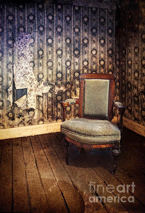 Chair In Abandoned Room Print by Jill Battaglia