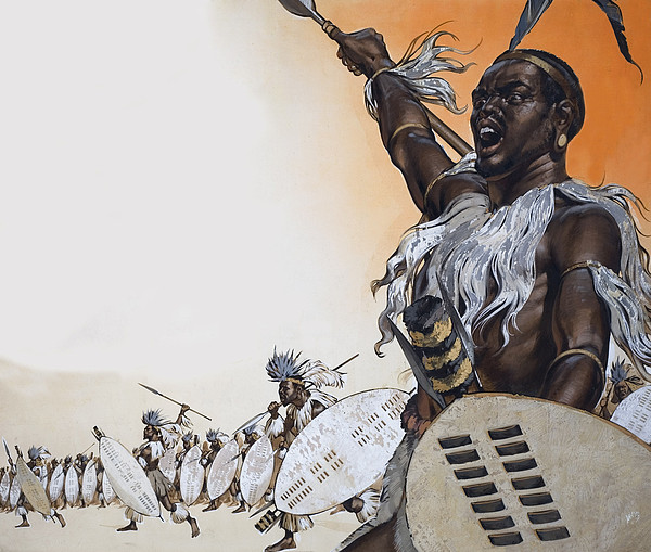 Chaka In Battle At The Head Print by Angus McBride