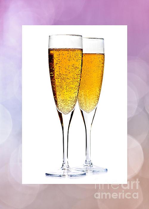 Champagne In Glasses Print by Elena Elisseeva