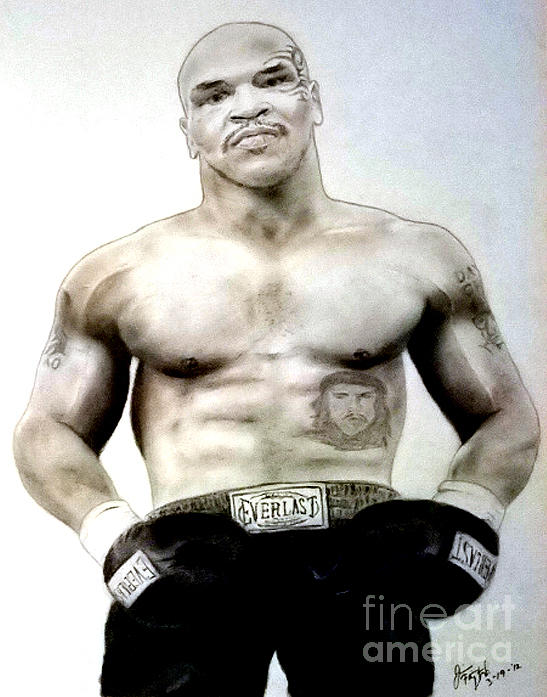 Champion Boxer And Actor Mike Tyson Print by Jim Fitzpatrick