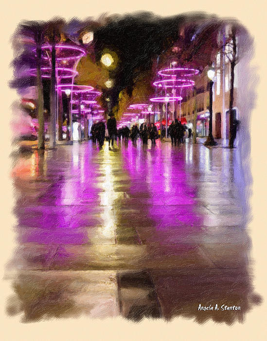 Champs Elysees In Pink Print by Angela A Stanton