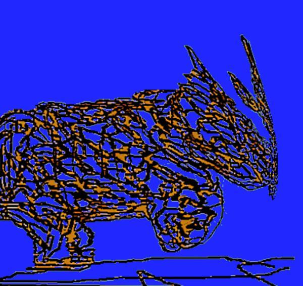 Charging Rhino Print by Jamie ian Smith