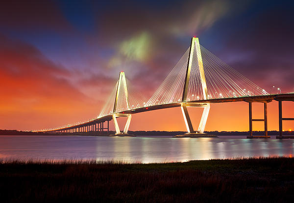 Charleston Sc - Arthur Ravenel Jr. Bridge Cooper River Print by Dave Allen
