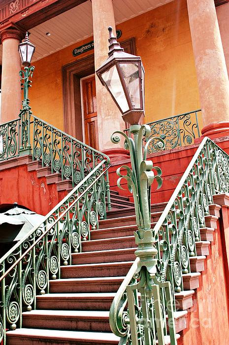 Charleston Staircase Street Lamps Architecture Print by Kathy Fornal