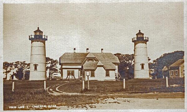 Chatham Twin Lights 1908-18 Print by Skip Willits