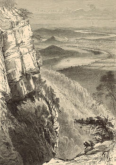 Chattanooga And The Tennessee From Lookout Mountain Print by Antique Engravings
