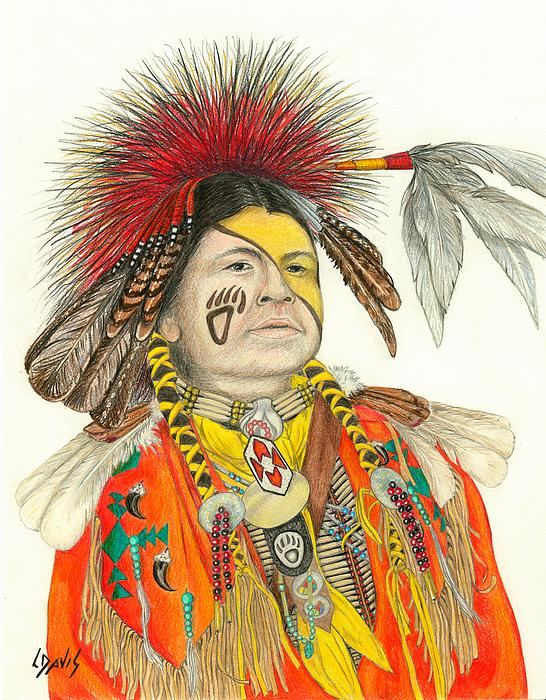 Cherokee In Orange Print by Lew Davis