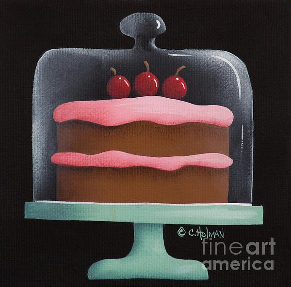 Cherry Chocolate Cake Print by Catherine Holman