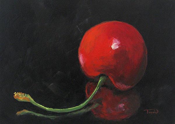 Cherry On Black Print by Torrie Smiley