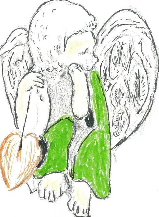 Cherub With Leaf Print by Michael Snincsak