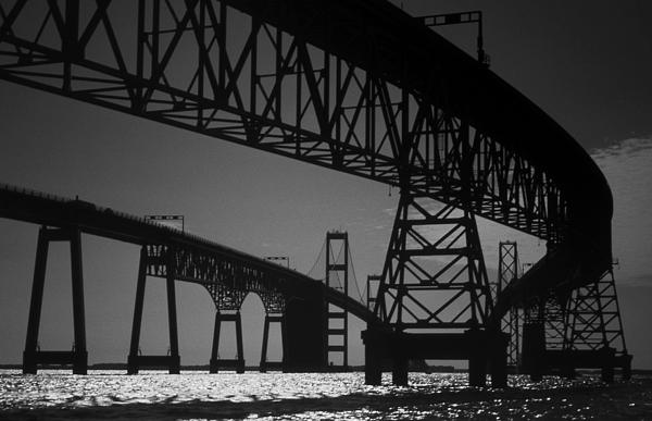 Chesapeake Bay Bridge At Annapolis Print by Skip Willits
